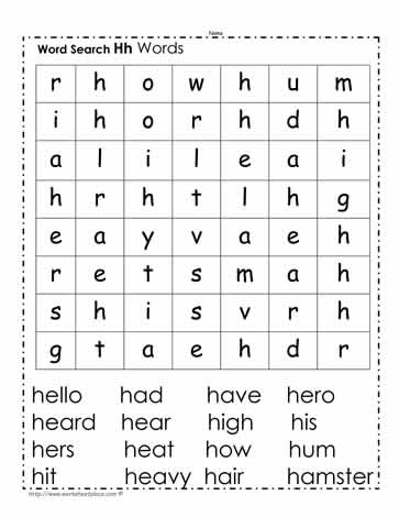 Words Beginning with H Wordsearch