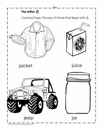 The Letter J Coloring Pictures Worksheets