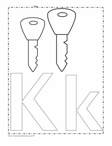 The Letter K Coloring Page Worksheets