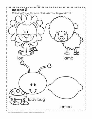 The Letter L Coloring Pictures Worksheets