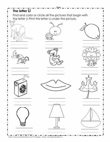 Letter L Picture Match Worksheets