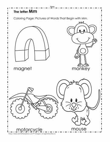 the letter m coloring pictures worksheets. Black Bedroom Furniture Sets. Home Design Ideas