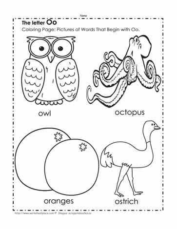 The Letter O Coloring Pictures Worksheets