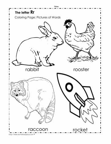 The Letter R Coloring Pictures Worksheets