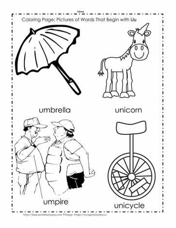The letter u coloring pictures worksheets for Letter u coloring pages