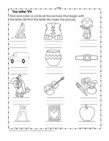 Color the V Pictures Worksheets