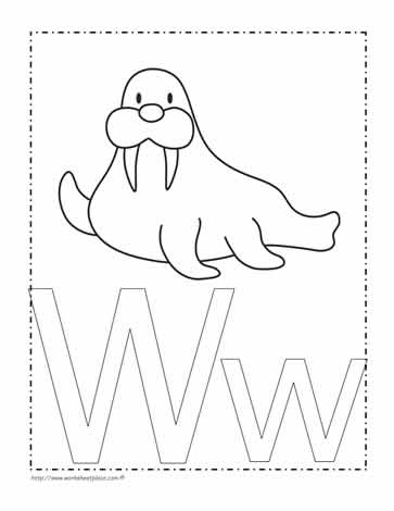 The Letter W Coloring Page Worksheets