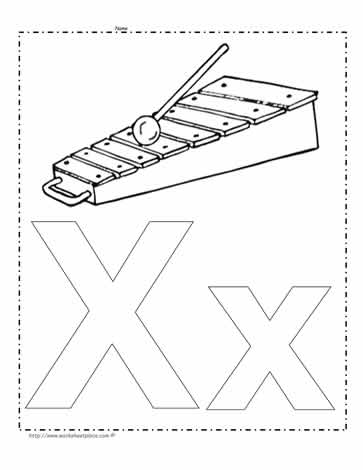 The Letter X Coloring Page Worksheets