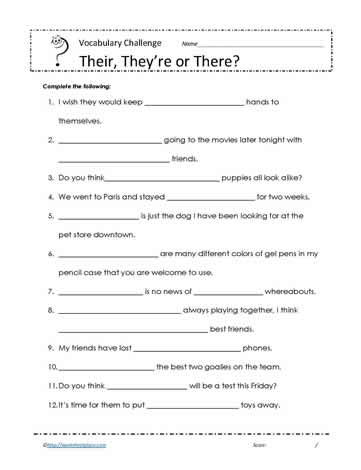 There Their And They Re Worksheets - Vintagegrn