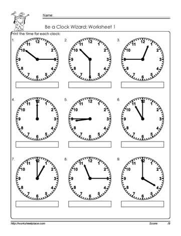 Telling-Time-to-The Quarter-Worksheet-1