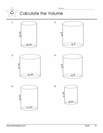 volume of a cylinder worksheets