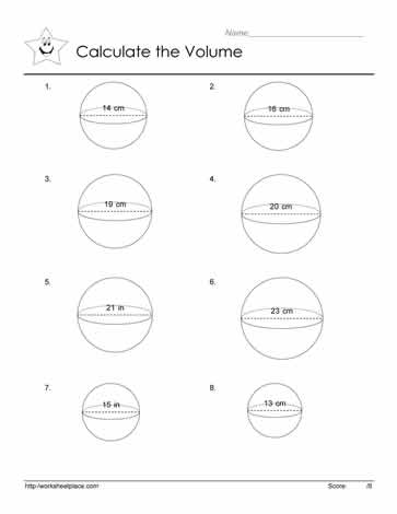 volume of a sphere worksheets. Black Bedroom Furniture Sets. Home Design Ideas