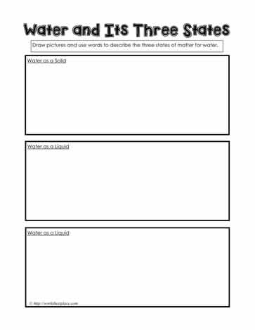 Worksheets 3 States Of Matter Worksheet 3 states of waterworksheets water can be in matter it a gas liquid and solid this worksheet requires children to consider its three states