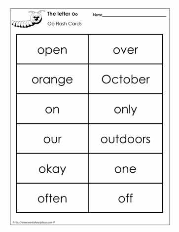 Word Wall Words for the Letter O