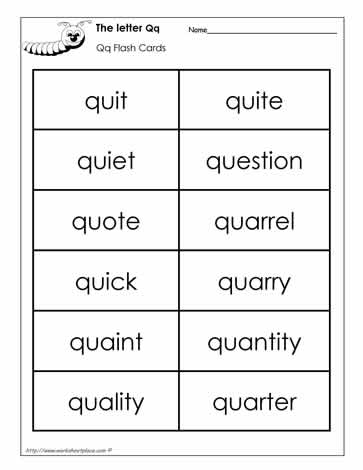 Word Wall Words for the Letter Q Worksheets