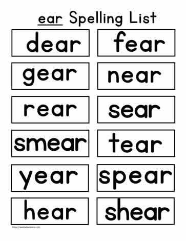 ear Word List