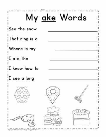 ake Word Family Sentences Worksheets
