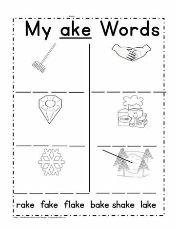 ake Word Family Activities Worksheets