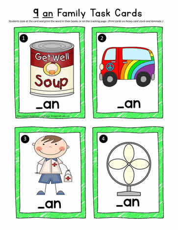 an Word Family Task Cards