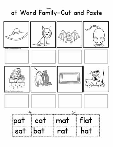 at Word Family Cut and Paste Worksheets