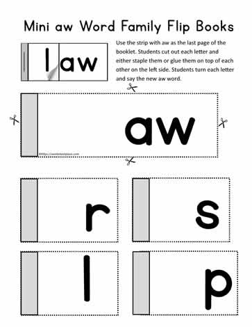 aw Word Family Flip Book