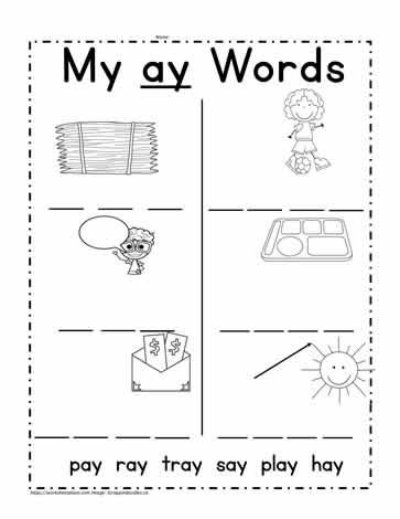 ay Words Worksheet Worksheets