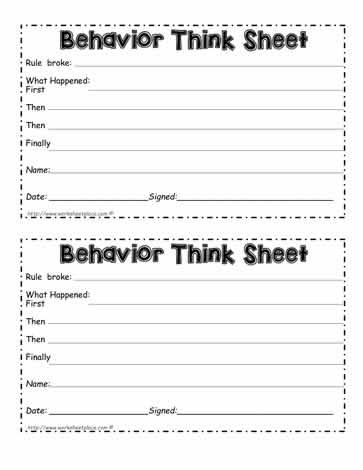 Behavior Think Sheet Teacher Form