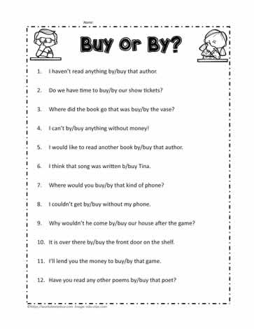 By or Buy Worksheets