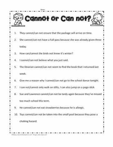 Cannot or Can not Worksheets