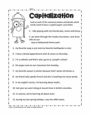 Capital Letters Worksheet 1