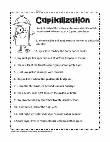 Capital Letters Worksheet 2