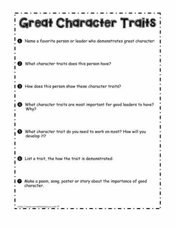 Showing Great Character Worksheet