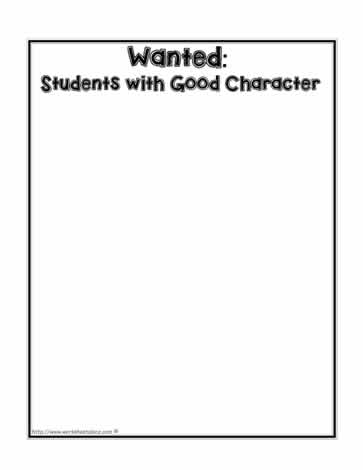 Wanted 'A Good Character' Worksheet