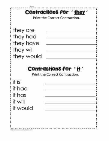 The It and They Contractions (it is, they are...)