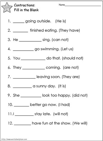 Contractions Worksheet 2