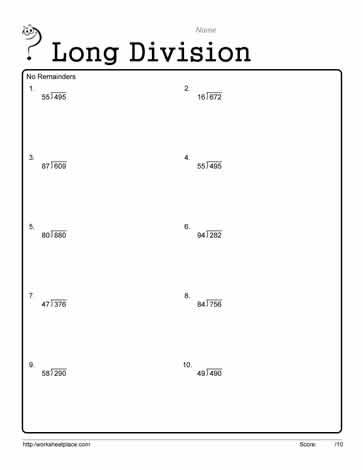 Long Division Worksheet 1