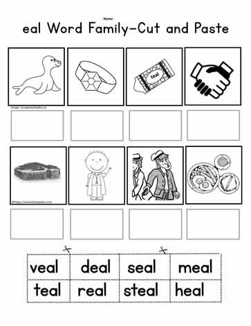 eal Word Family Cut and Paste