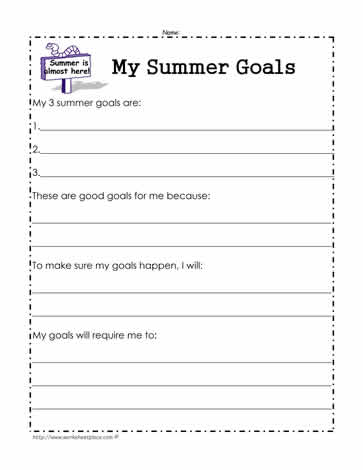 My Summer Goals Worksheet