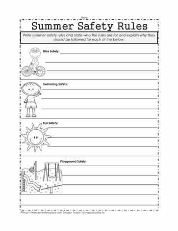 Summer Safety Rules Worksheets