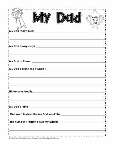 All About Dad Writing Activity Worksheets