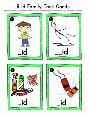 id Word Family Task Cards