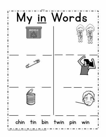 in Word Family Worksheet Worksheets
