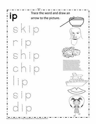 IP Word Family Worksheet