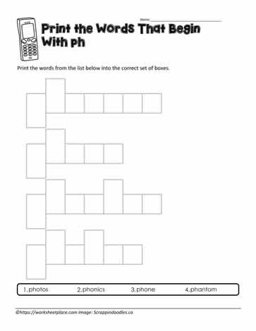 ph Digraph Word Shapes