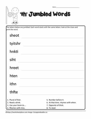 Jumbled Words for th Digraphs