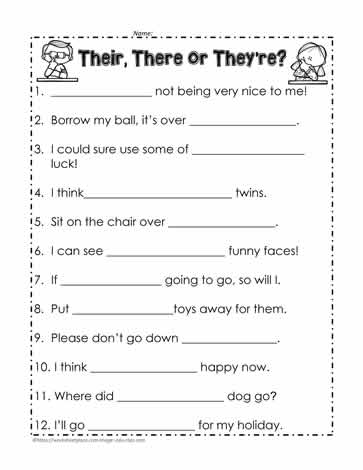 Their, there or they're? Worksheets