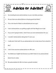 Advise or Advice Worksheets