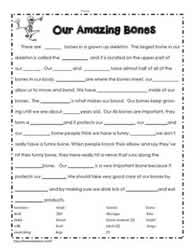 All About Bones Worksheet