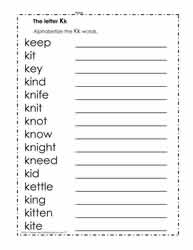 Alphabetize the Words with K