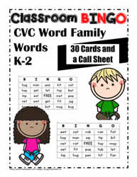 Bingo Game for CVC Words